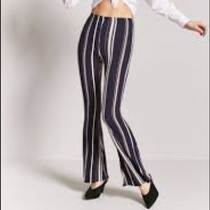 Black and white striped flare pants